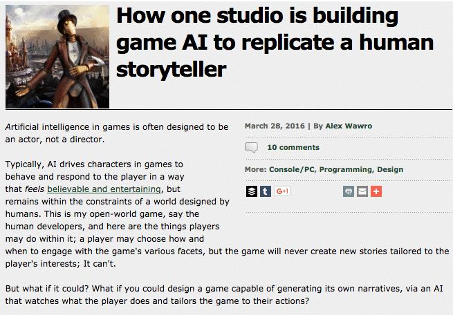 create a game community- AI