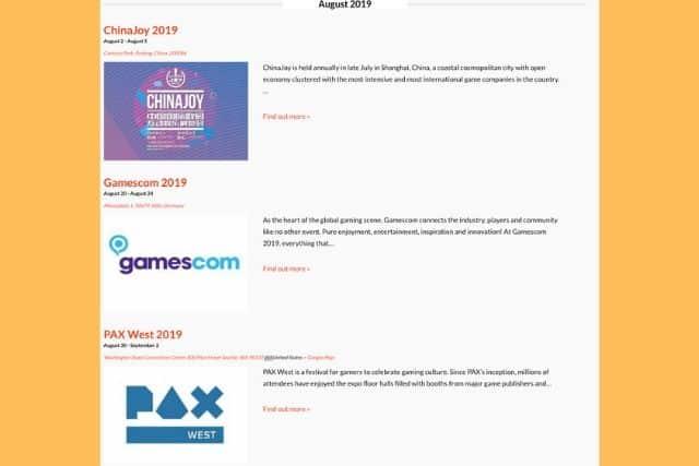 Big Games Machine games PR events calendar