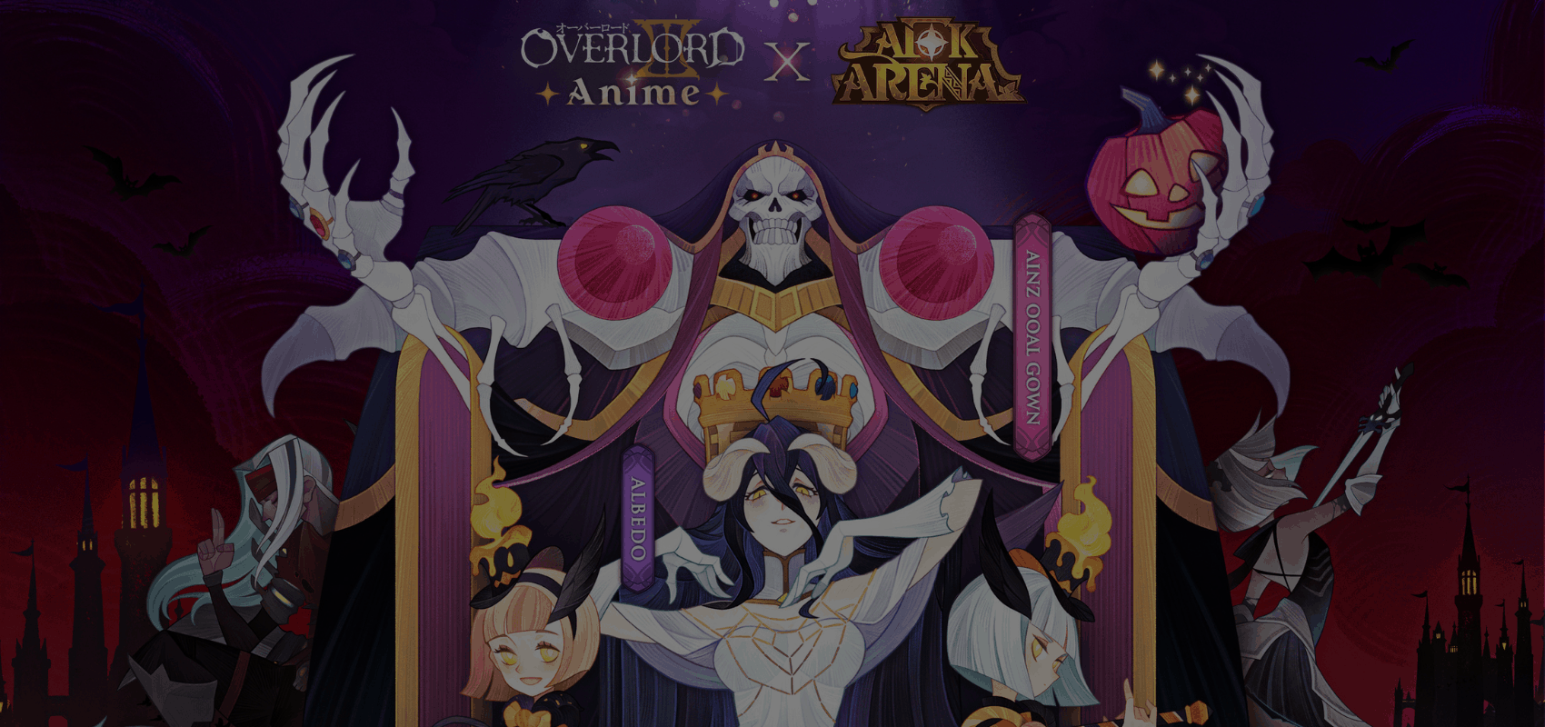 Overlord animated characters Ainz Ooal Gown and Albedo join AFK Arena for its Halloween event spooktacular